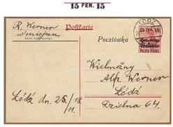 WARSZAWA - VARSOVIE - Entier Postal Lodz 26 Novembre 1918 Fischer 2-II - ....-1919 Übergangsregierung