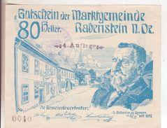 413-Banconote-Carta Moneta Di Emergenza-NOTGELD-Rabenstein-Austria-Osterraich-Emergency Money-80 Heller-4 Auflage-1920 - Oostenrijk