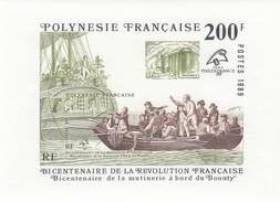 POLYNESIE FRANCAISE BLOC DE 200F MNH** - PHILEXFRANCE 89 - BICENTENAIRE DE LA MUTINERIE DU BOUNTY / 6365 - Blocks & Sheetlets