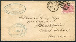 1873 GB 3d Rose Plate 11, The American Exchange, 449 Strand, Charing Cross, London Cover - Philadelphia, USA - 1840-1901 (Victoria)