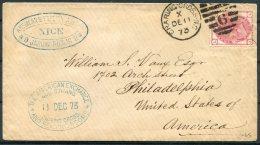 1873 GB 3d Rose Plate 11, The American Exchange, 449 Strand, Charing Cross, London Cover - Philadelphia, USA - Storia Postale