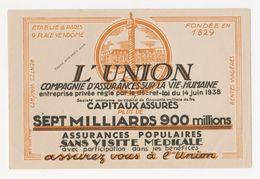 Buvard - ASSURANCES L' UNION - Buvards, Protège-cahiers Illustrés