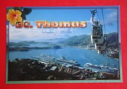 O1- America/USA- Postcard- St.Thomas,US Virgin Islands,View Of Charlotte Amalie,Cable Car,Skyride To Paradise Point - Jungferninseln, Amerik.