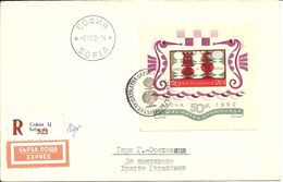Bloc BULGARIE N°9 : 15e Olympiade D'ECHECS à Varna, Sur Lettre Recommandée 7/7/1962 - Chess