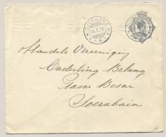 Nederlands Indië - 1916 - 10 Cent Wilhelmina, Envelop Van KB DJOMBANG Naar Soerabaja - Indes Néerlandaises