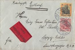 DR Brief Eilbote Mif Minr.86I, 88I Dresden 1.8.10 Gel. Nach Leipzig - Briefe U. Dokumente
