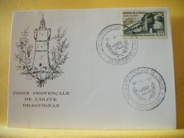 B9 3281 - CARTE POSTALE FOIRE PROVENCALE DE L'OLIVE DRAGUIGNAN - 30-VI-1962 - 0,20 F MEMORIAL DE LA FRANCE COMBATTANTE.. - Poststempel (Briefe)