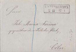 Brief R2 Unterbarmen 2.11. Gel. Nach Köln - Preussen