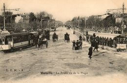 13 Marseille, Tram, Le Prado Vu De La Plage, Ed L P M -8 - Markets, Festivals