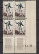 FRANCE 1953 - BLOC DE 4 TP Y.T. N° 957 COIN DE FEUILLE /DATES -  NEUFS** /K518 - France