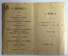 MENU Du 19 Décembre 1895 - Menus