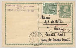 Österreich - 1913 - Briefkaart Franz Joseph Met Bijfrankering Van Wien Naar KB BINDJEI / Nederlands Indië - Postwaardestukken