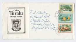 1980 TUVALU COVER Stamps FISH  To GB With LABEL COLLECT TUVALU POSTAGE STAMPS - Tuvalu