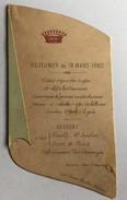 MENU Déjeuner Du 19 Mars 1885 - Menus