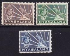 NYASSALAND, 1938, Mint Never Hinged Stamps , MI 52=60, George VI,   #545 (3 Values Only) - Nyasaland (1907-1953)