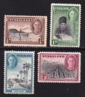 NYASSALAND, 1945, Mint Hinged Stamps , MI 70=75, George VII,   #547 (4 Values Only) - Nyasaland (1907-1953)