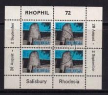 RHODESIA, 1972, Cancelled To Order Stamp(s) , MI 90, Rhophil Min. Sheet,   #621 - Rhodesia (1964-1980)