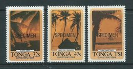 Tonga 1984 Christmas Carols Self Adhesive Set Of 3 MNH Specimen Overprint - Tonga (1970-...)