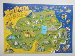 Postcard Map Of Northern Ireland My Ref B21702 - Maps