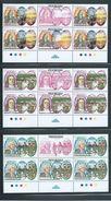 Tonga 1991 Wesley Christian Missionary Unissued Set Of 4 As Gutter Blocks Of 4 MNH Specimen Overprints - Tonga (1970-...)