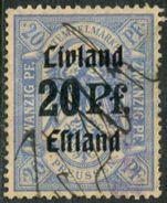 Estonia Estland 1919 PROVISIONAL Livland-Estland German Occupation Revenue 20 Pf With Unidentified Straight Line H/stamp - Estonia