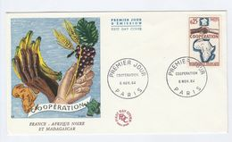 1964 FRANCE FDC Stamps MAP AFRICA COOPERATION   Cover Illus GRAPES BANANAS Fruit WHEAT - FDC