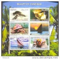 TANZANIA  2390  MINT NEVER HINGED MINI SHEET OF FISH-MARINE LIFE ; TURTLES ; ANIMALS ; SHIPS - Marine Life