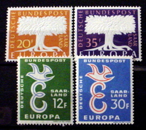 SAAR # 286-287 & 317-318.   EUROPA - Two Complete Sets.  MNH (**) - 1957-59 Federation