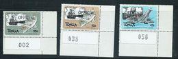 Tonga 1983 Sea & Air Transport Official Overprint Self Adhesive Set Of 3 Marginal  MNH - Tonga (1970-...)