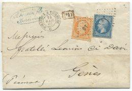 N°22+23  + Losange BT + Ambulant De Jour Bordeaux à Toulouse  / Lettre 3° échelon Pour Gènes (Piémont) (Italie) - 1862 Napoleon III