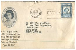 (170) Cover Canada Bird - 1947 Newfoundland - Princess Elizabeth - Unclassified