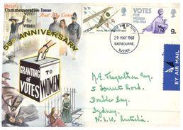 (170) Cover Posted From UK To Australia - 1968 - Vote To Women 50th Anniversary - 1952-1971 Dezimalausgaben (Vorläufer)