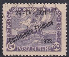 Fiume S185  1922 Second Constituent Assembly ,80c Violet Used - 8. WW I Occupation