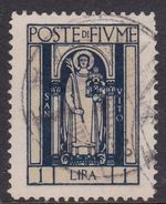 Fiume S198  1923 Definitive 1 Lira, St. Vitus, Dark Blue, Used - 8. WW I Occupation