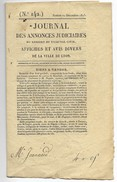 Journal N 142 Du 10 Décembre 1825 Annonces Judiciaires Ville De Lyon 12 Pages - Journaux - Quotidiens