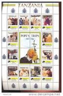 TANZANIA  833 * MINT NEVER HINGED MINI SHEET OF POPE JOHN PAUL II - Christendom