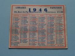 Librairie - Papeterie 39 Rue Du Fg Montmartre Provence 27-32 : Anno 1946 ( Zie Foto´s Voor Detail ) ! - Calendriers