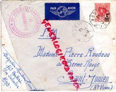 87-SAINT JUNIEN- ALGERIE ALGER- 65E REGIMENT ARTILLERIE -CLOS SALEMBIER PAR AVION- PIERRE ROUDEAU AU TERME ROUGE -1945 - Non Classés