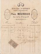 Gironde, Bordeaux, Magasin D'optique P. Mouroux, Lunettes....1894 - France
