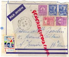 87-SAINT JUNIEN- TUNISIE GABES A REGENCE TUNIS-PAR AVION MME GOSSELIN 5 AVENUE VOLTAIRE-1938-1939-TUBERCULOSE NET PROPRE - Tunisie (1956-...)