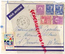 87-SAINT JUNIEN- TUNISIE GABES A REGENCE TUNIS-PAR AVION MME GOSSELIN 5 AVENUE VOLTAIRE-1938-1939-TUBERCULOSE NET PROPRE - Tunesien (1956-...)