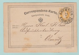 AUT3 Entier Postal Franz-Joseph 2k. P18b (54mm)  Kremsier 21.2.76 - Interi Postali