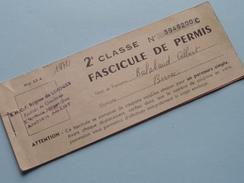 S.N.C.F. Région De LIMOGES : 2e Classe - FASCICULE De PERMIS N° 3948200 C - Anno 1972 ( Zie Foto Details ) !! - Autres