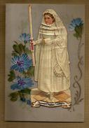 Image Pieuse Religieuse Holy Card Celluloid Peinte à La Main Ajoutis Communiante Communion - Superbe !!! - Devotieprenten