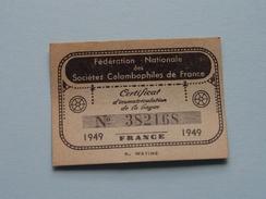 PIGEON - DUIF Certificat De La Bague Colombophiles De FRANCE 1949 - N° 382168 ( Voir Photo Detail Svp ) ! - Sports