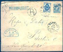 RUSIA , 1888 , INTERESANTE SOBRE ENTERO POSTAL CERTIFICADO CIRCULADO A BERLIN. FRANQUEO COMPLEMENTARIO - 1857-1916 Imperium