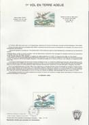 TAAF Yvert PA 128 Sur Notice 175 - Premier Vol En Terre Adélie - Avion Aviation - Französische Süd- Und Antarktisgebiete (TAAF)
