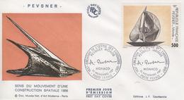 Enveloppe  FDC  1er  Jour   Oeuvre   De   PEVSNER   Oblitération  MONACO   1987 - FDC