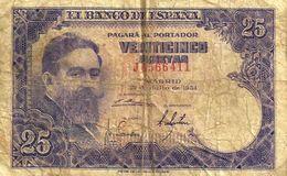 SPAIN 25 PESETAS PURPLE MAN FRONT & OLD BUILDING BACK DATED 23-07-1954 P.147a READ DESCRIPTION !! - [ 3] 1936-1975 : Regency Of Franco