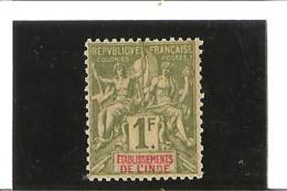 ETABLISSEMENT FRANCAIS  N° 13 * Charnières - India (1892-1954)